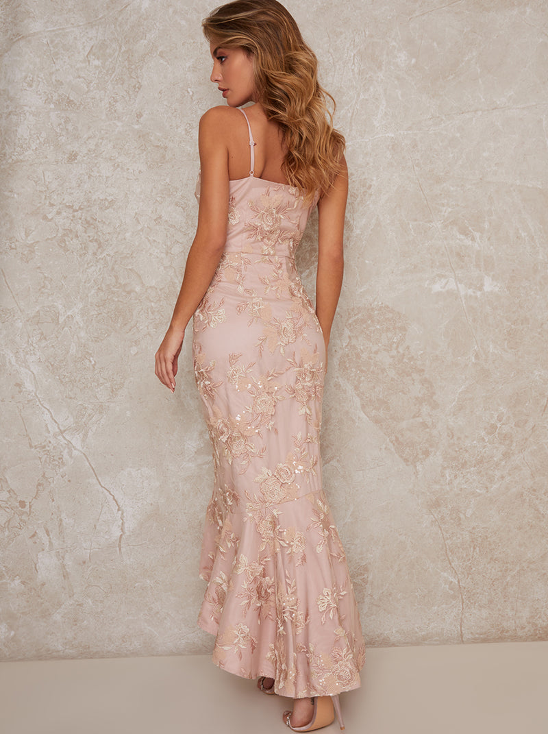 Embroidered Floral Cami Maxi Dress With Peplum Hem In Pink