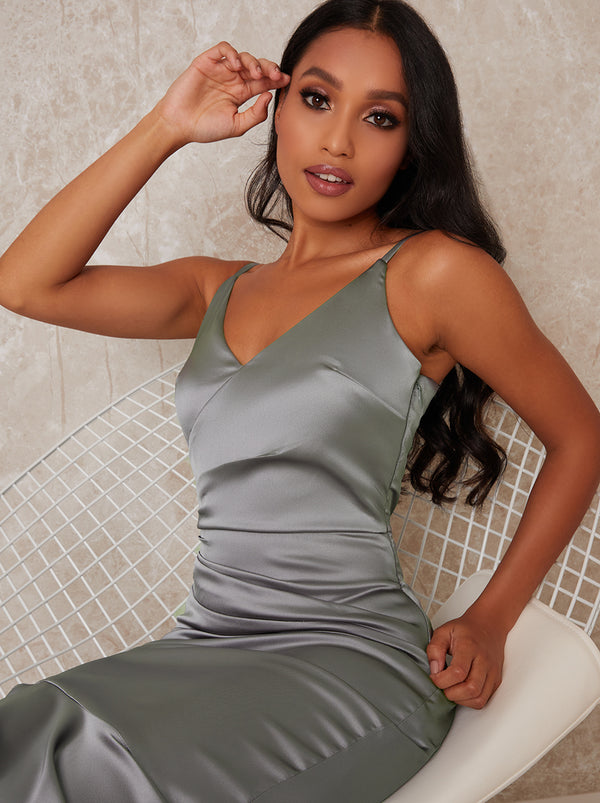 Petite Bodycon Wrap Style Fishtail Dress in Green