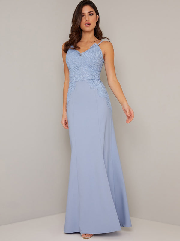 Cami Strap Lace Detail Fitted Maxi Dress in Blue