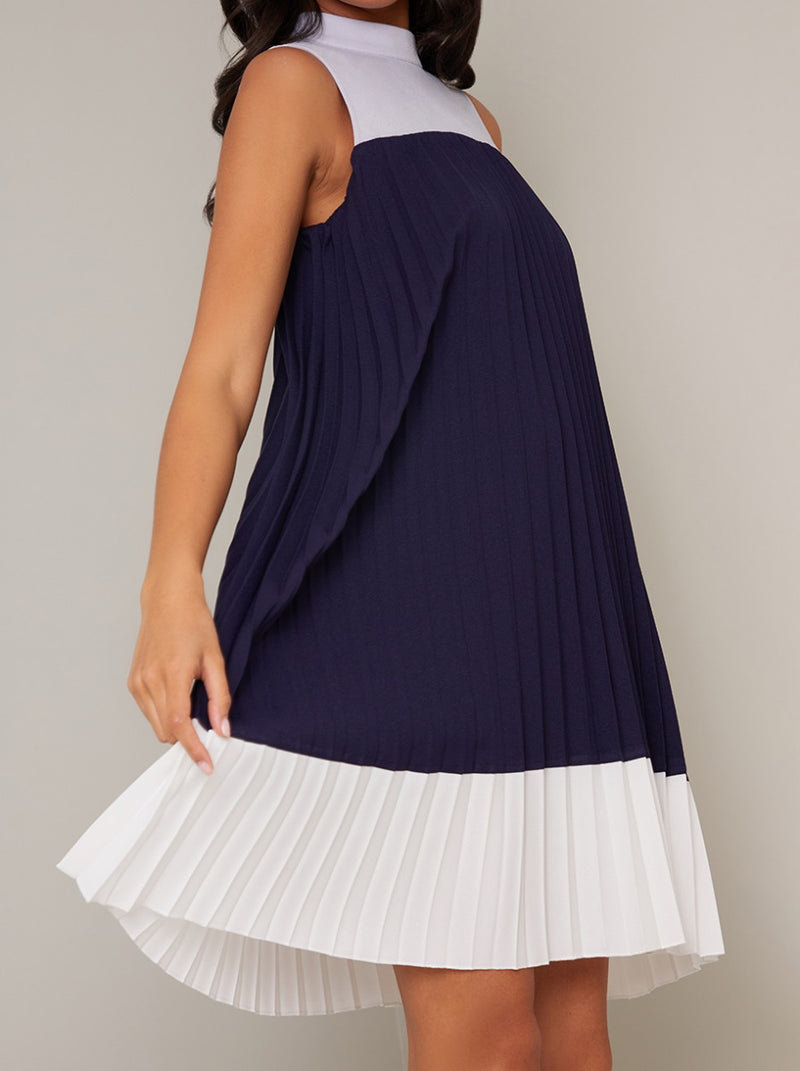 Pleated High Neck Panel Swing Dress in Blue