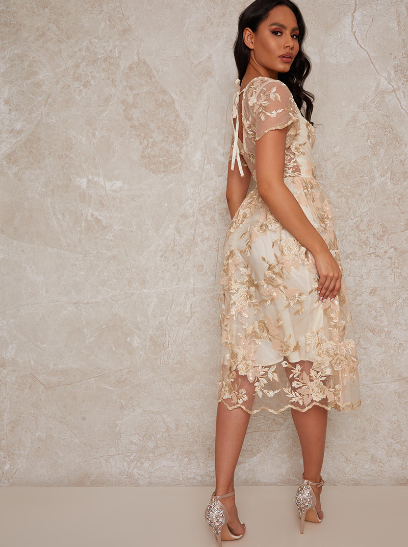 Lace Midi V Neck Midi Dress in Neutral
