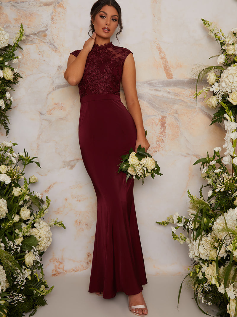 High Neck Lace Fitted Maxi Bridesmaid Dress in Red