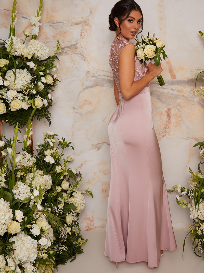 High Neck Lace Maxi Bridesmaid Dress in Brown