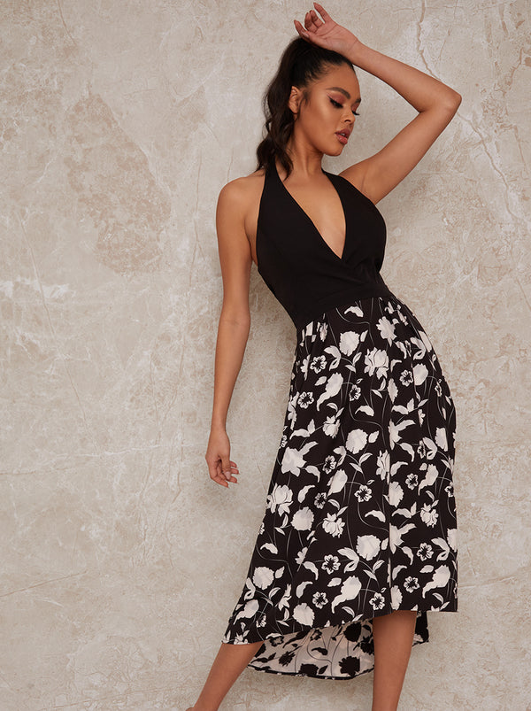 Halterneck Floral Dip Hem Dress in Monochrome