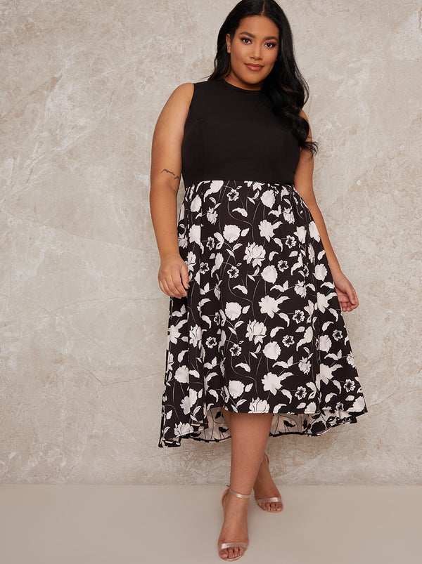 Plus Size Floral Dip Hem Dress in Monochrome