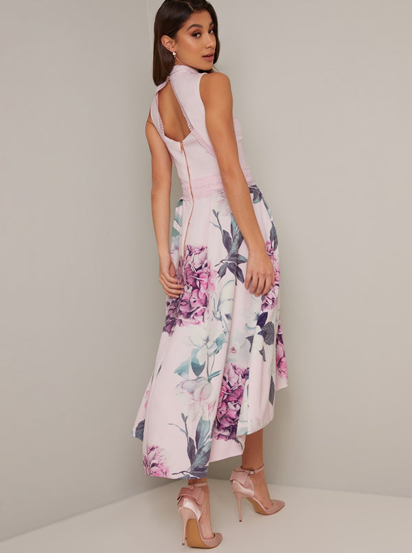 High Neck Dip Hem Floral Midi Dress in Purple