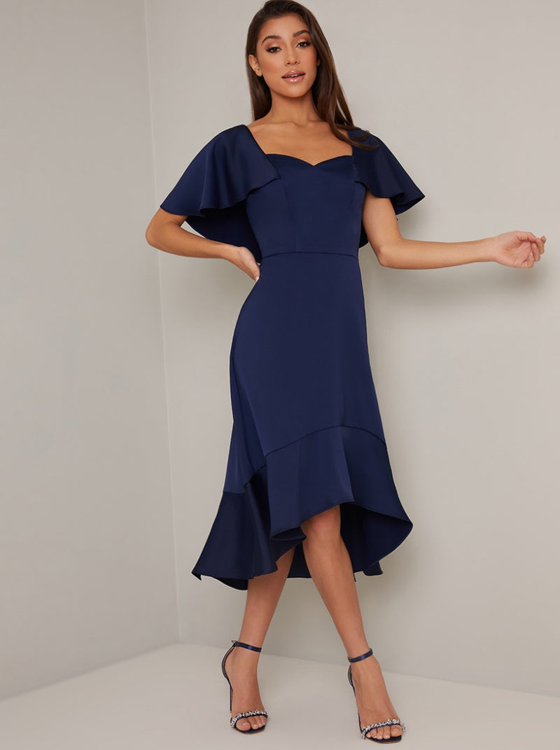 Cape Detail Dip Hem Midi Dress in Blue
