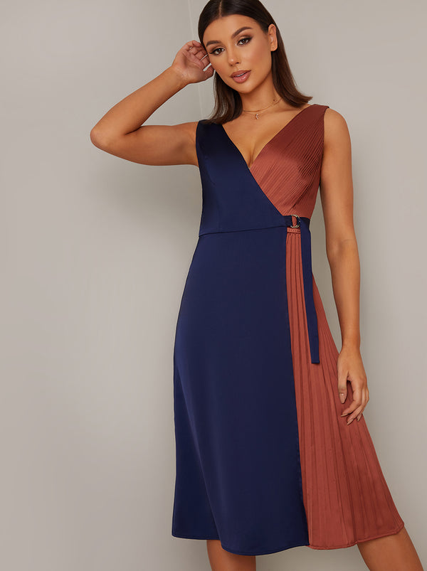 Colour Block Wrap Design Pleat Midi Dress in Multi