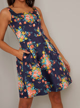Tall Floral Printed Mini Dress in Blue