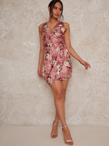 Floral Bodycon Mini Wrap Dress in Pink