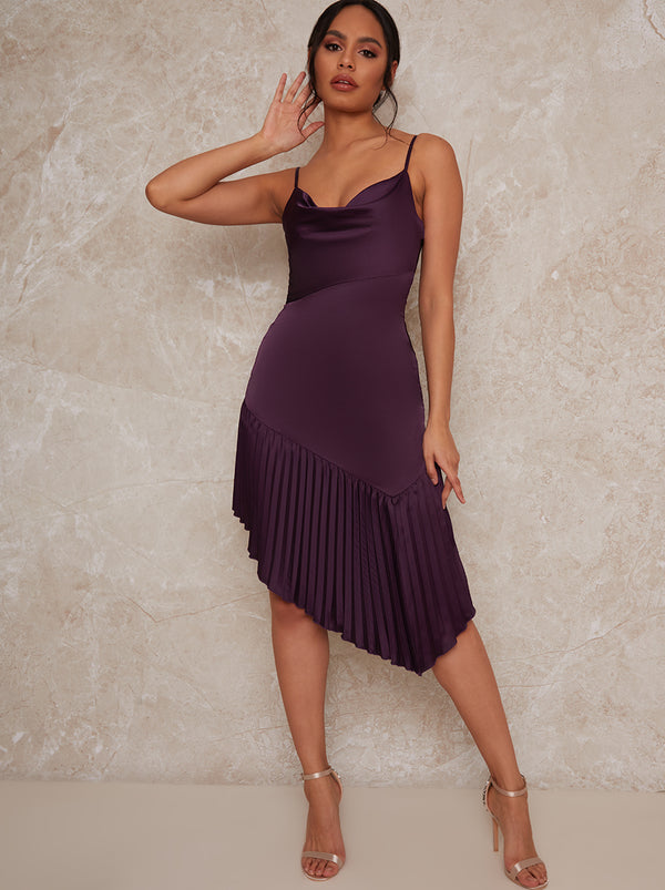 Aysmmetric Midi Cami Dress in Burgundy