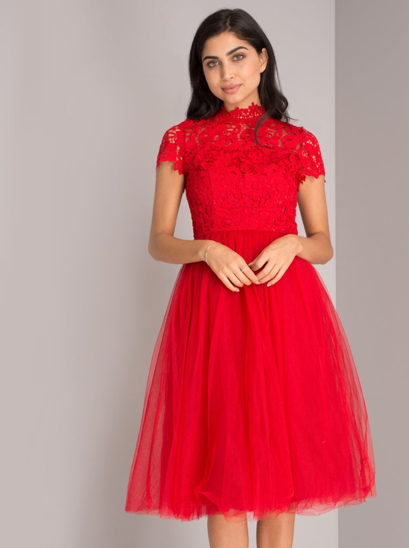High Neck Lace Bodice Tulle Midi Dress in Red