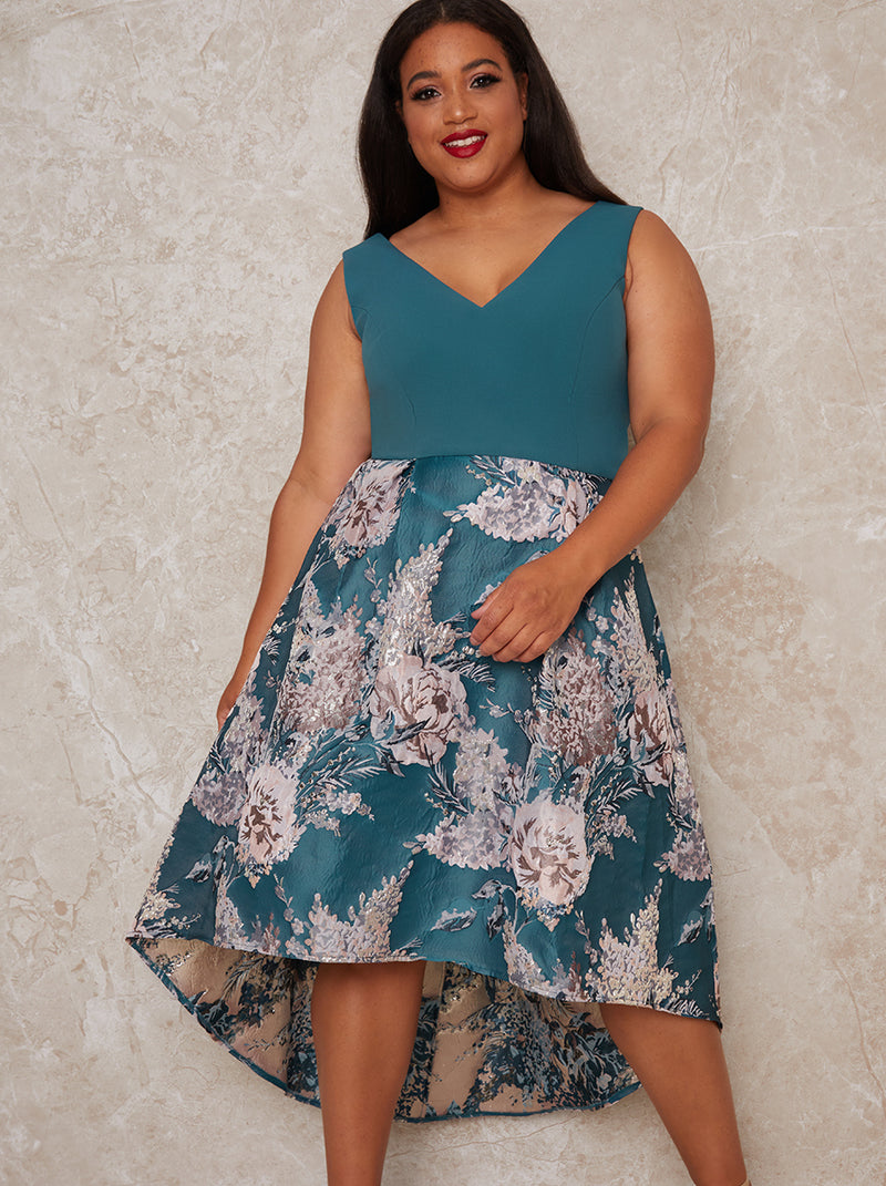 Plus Size Jacquard V Neck Dip Hem Dress in Green