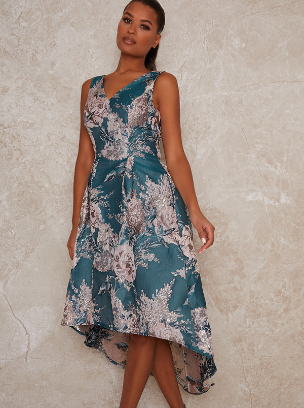 Dip Hem Dress with Floral Jaquared Design in Green