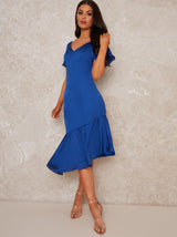 Angel Sleeve V Neck Satin Feel Dip Midi Dress in Blue