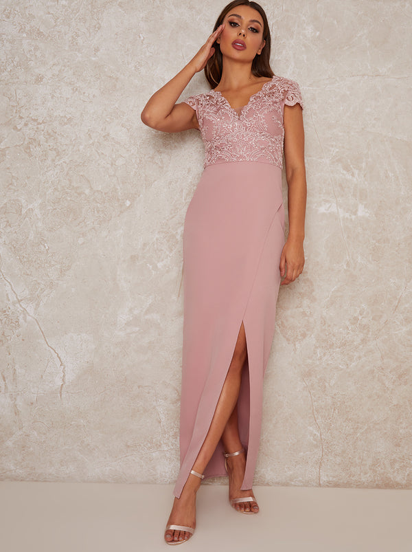 Cap Sleeve Embroidered Maxi Dress in Pink