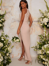 Bodycon Bridesmaid Dress With Wrap Detail In Pink
