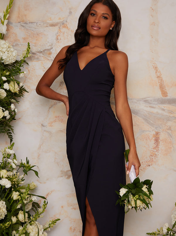 Cami Strap Maxi Bodycon Dress in Navy