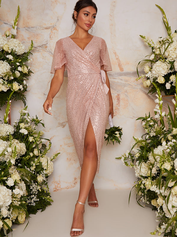 Sequin Wrap Midi Dress With Short Sleeves In Pink