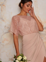 Sequin Bridesmaid Maxi Dress With Wrap Detail In Pink