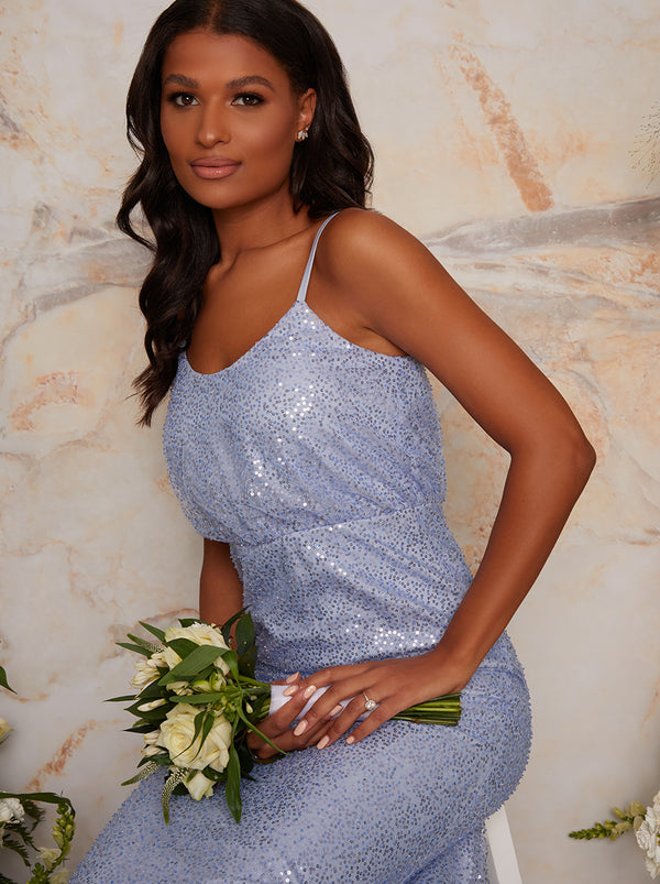 Sequin Bridesmaid Cami Style Maxi Dress In Blue