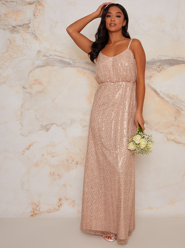 Petite Sequinned Cami Strap Maxi Dress In Champagne