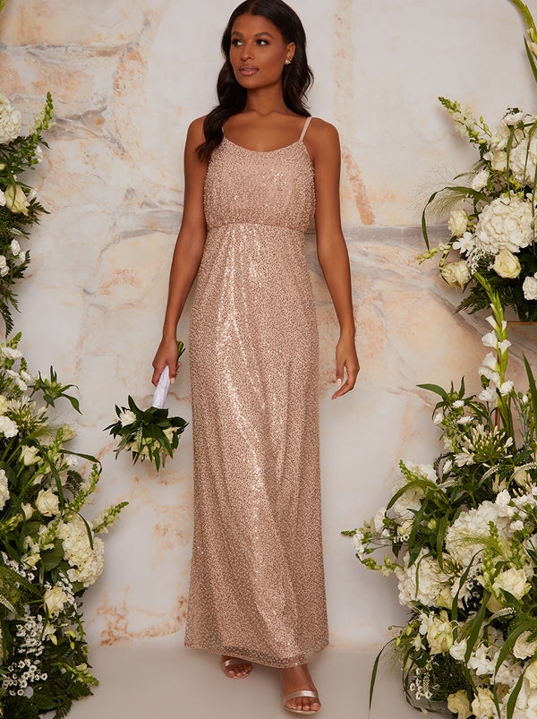 Sequinned Cami Strap Maxi Dress In Champagne