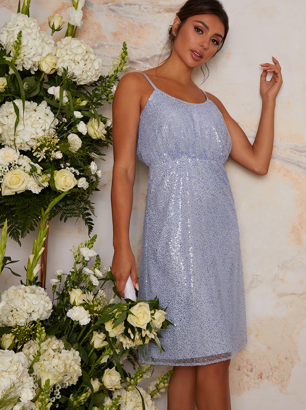 Sequin Bridesmaid Cami Style Midi Dress In Blue
