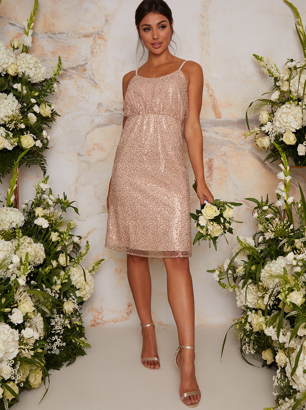 Sequin Bridesmaid Cami Style Midi Dress In Champagne