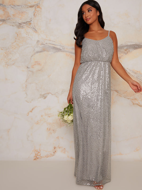Petite Sequin Bridesmaid Cami Style Maxi Dress In Silver