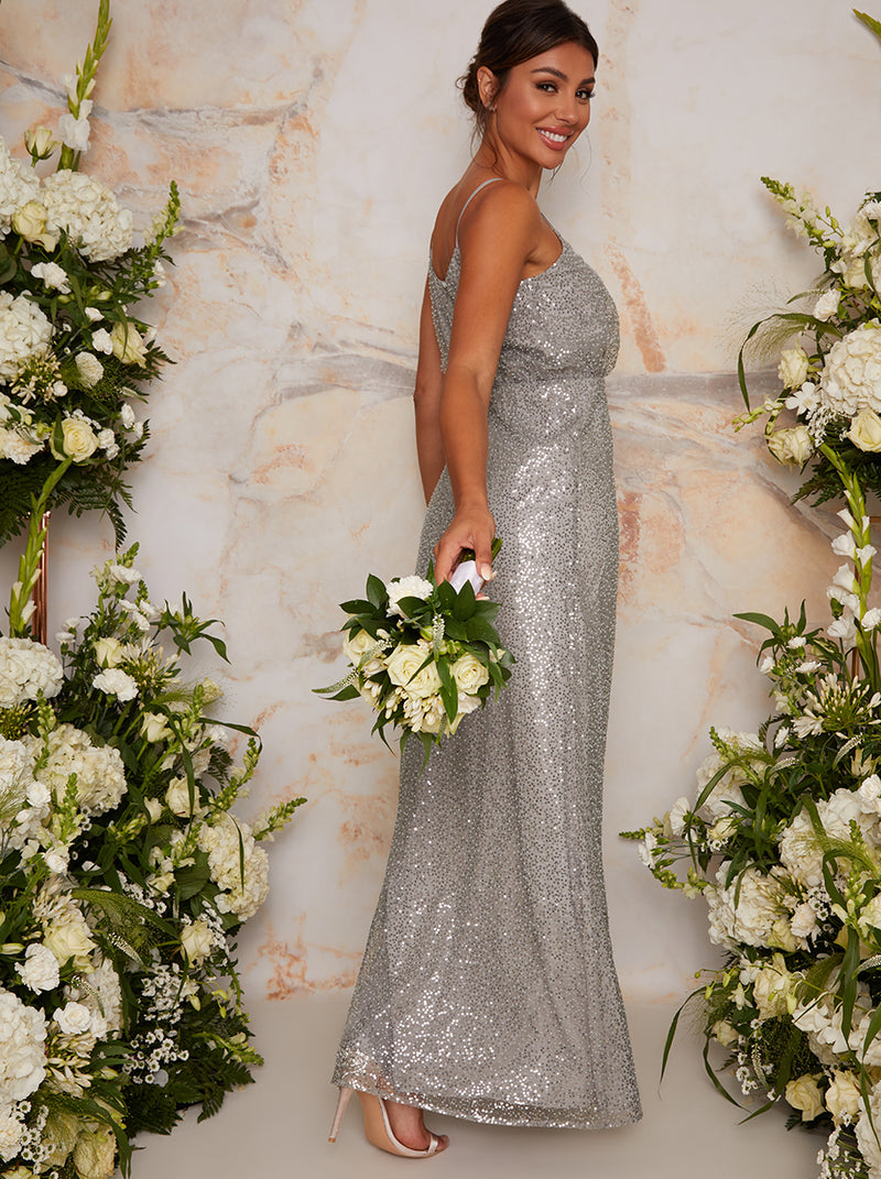 Sequin Bridesmaid Cami Style Maxi Dress In Silver