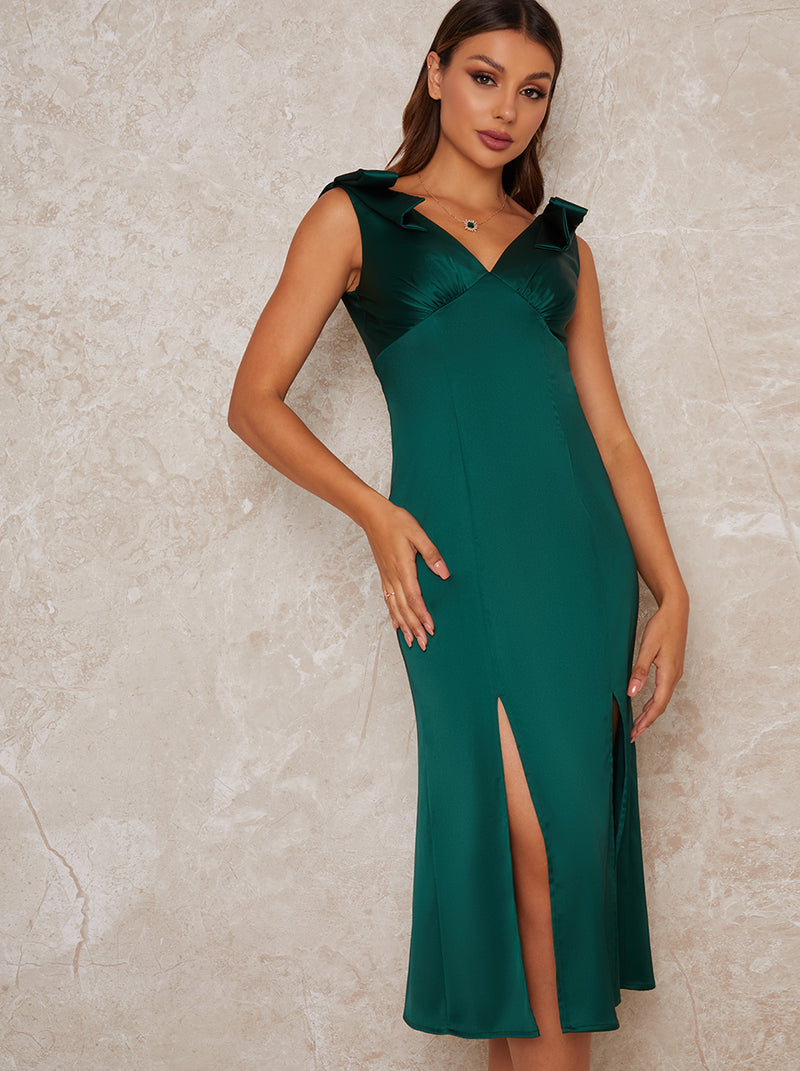Satin Slip Bow Detail Midi Dress in Green