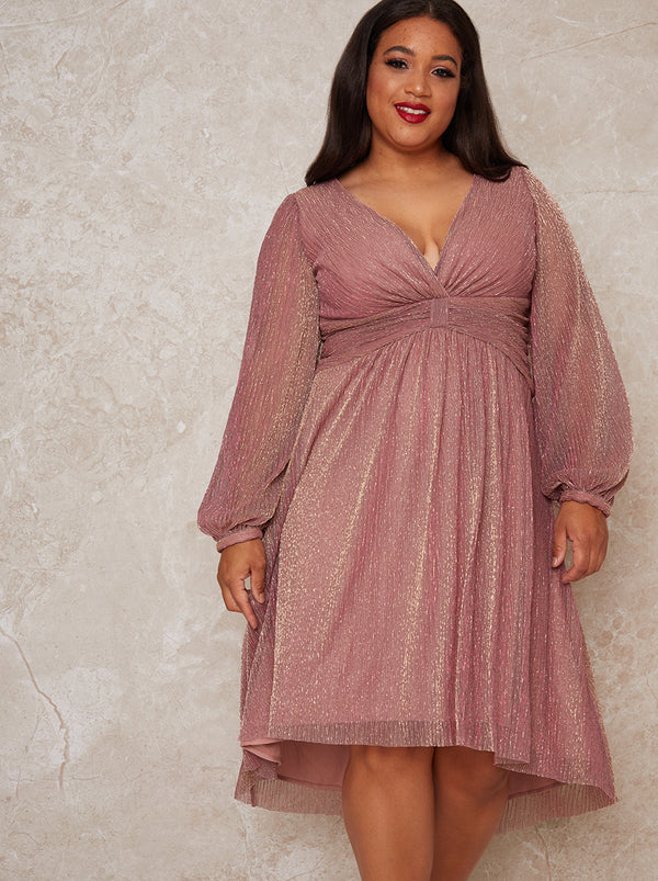 Plus Size Long Sleeve Dip Hem Party Dress in Pink