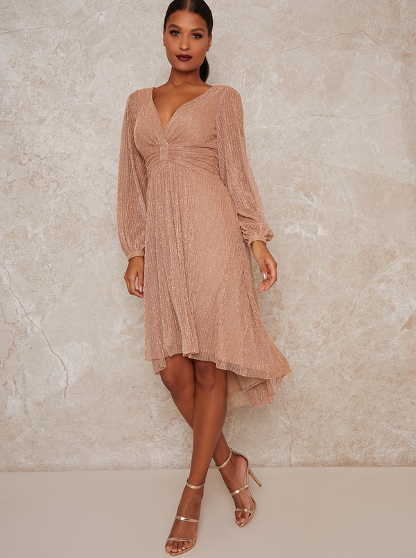 Wrap Glitter Long Sleeve Dip Hem Midi Dress in Rose Gold