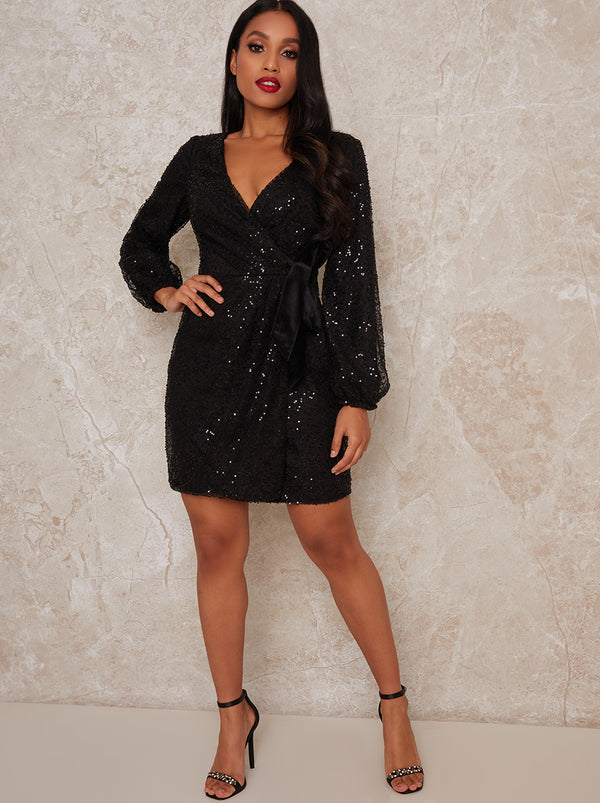 Petite Long Sleeve V Neck Sequin Mini Dress in Black