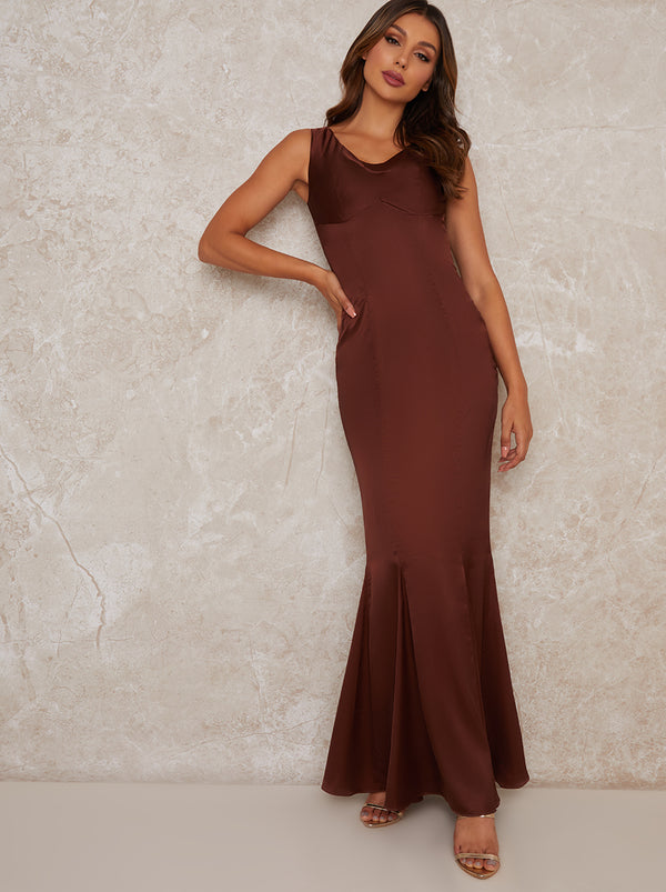 Satin Slip Maxi Bridesmaid Dress in Brown
