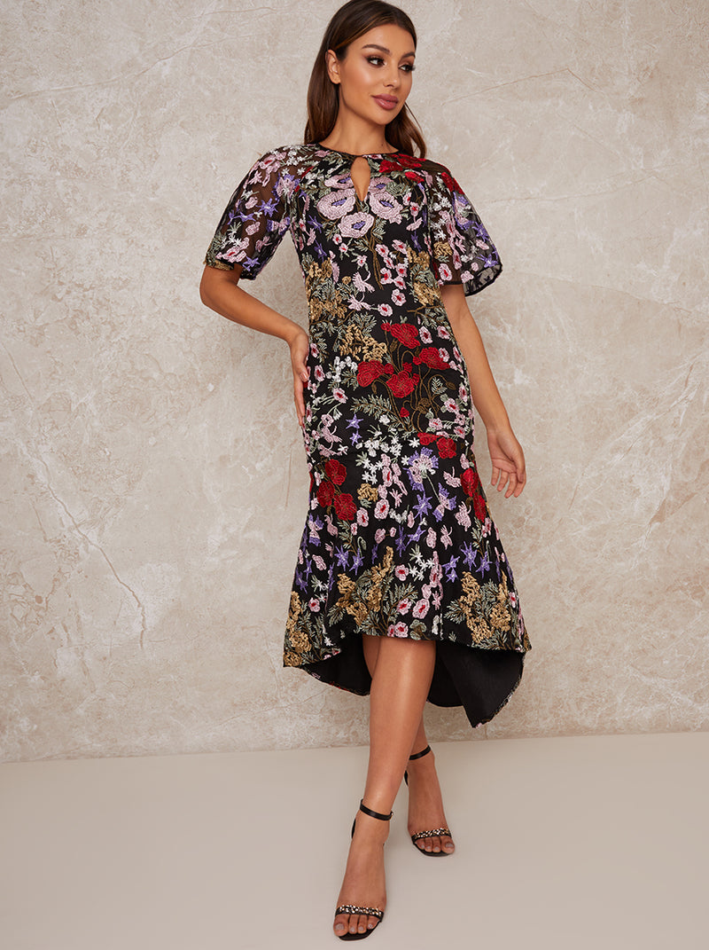Midi Party Dress with Floral Lace Design in Black