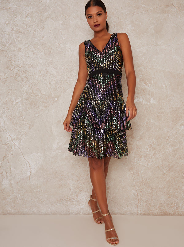 Sequin Midi Party Dress with V Neckline in Black