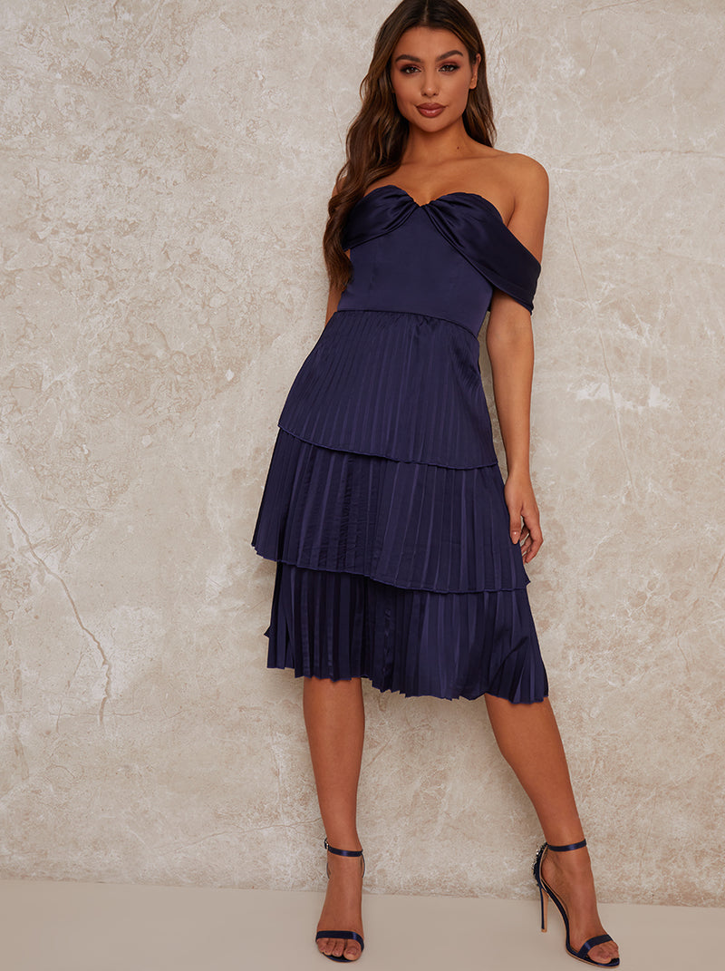 Midi Party Dress with Pleated Design in Blue