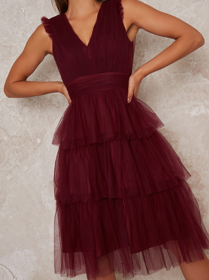 Layered Tulle V Neck Midi Dress in Red