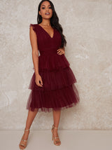 Petite V Neck Tulle Ruffle Midi Dress in Red