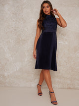 Midi Dress with Jaquard Bodice Design in Blue