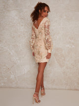 Puff Long Sleeve Lace Mini Dress in Neutral