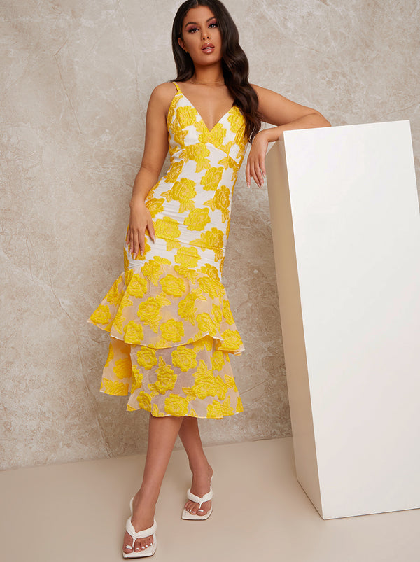 Peplum Jacquard Bodycon Dress in Yellow