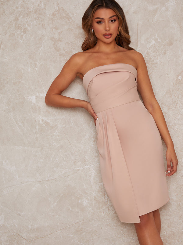 Bandeau Bodycon Dress in Nude
