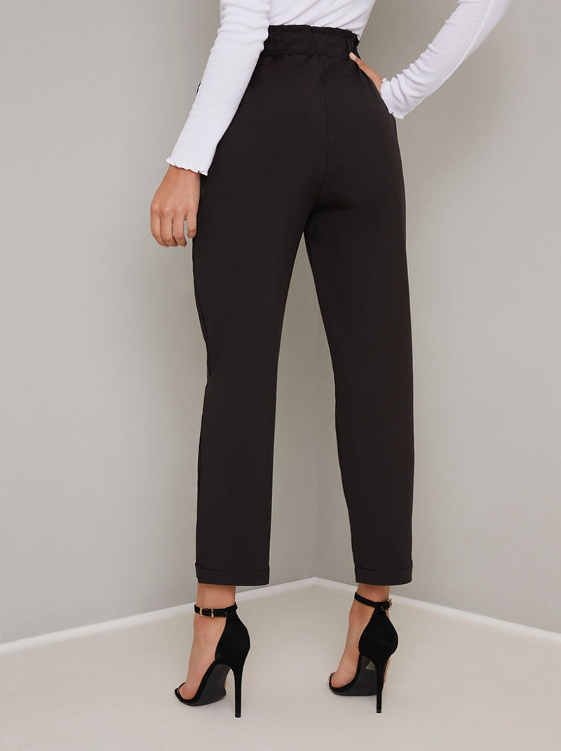 Crop Straight Leg Trousers in Black