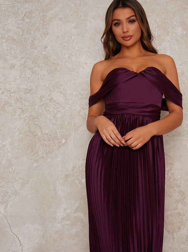 Maxi Bridesmaid Dress with Bardot Design in Purple