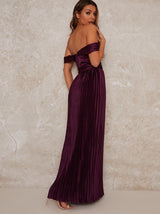 Maxi Bridesmaid Dress with Bardot Design in Red