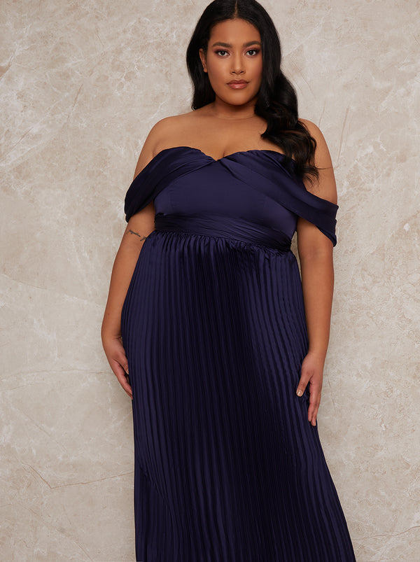 Curve Maxi Dress with Bardot Neckline in Blue