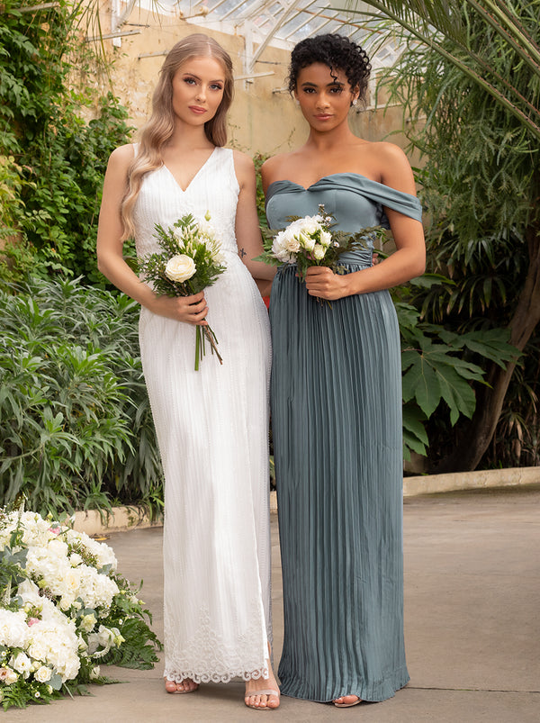 Bardot Bridesmaid Dress with Draped Shoulder in Green